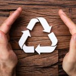 Hands Protecting Recycling Icon In Environmental Protection Concept